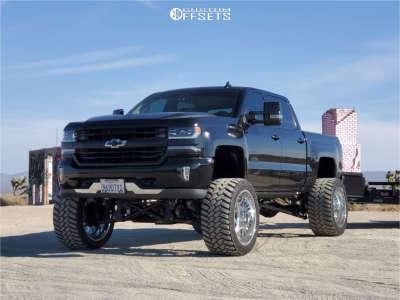 "2016 Chevrolet Silverado 1500 - 24x14 -76mm - Specialty Forged Sf015 - Suspension Lift 12"" - 375/40R24"