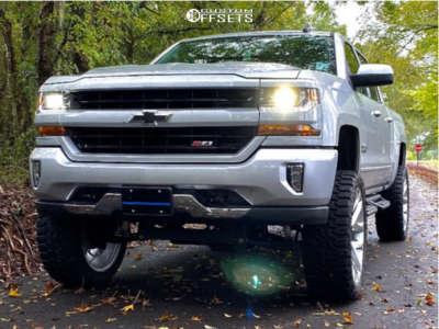 "2018 Chevrolet Silverado 1500 - 24x10 31mm - Strada Replicas Gm Snowflake Replica - Suspension Lift 6.5"" - 35"" x 12.5"""