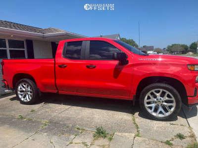 """2020 Chevrolet Silverado 1500 - 22x9 24mm - Wheel Replicas V1182 - Level 2"""" Drop Rear - 295/30R22"""