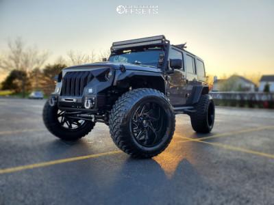 "2017 Jeep Wrangler JK - 24x14 -76mm - XF Offroad Xf-203 - Suspension Lift 4"" - 40"" x 15.5"""