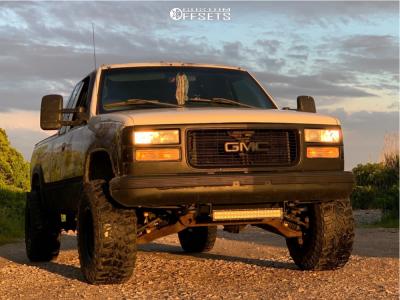 """1996 GMC K1500 - 15x10 -44mm - Black Rock D Widow - Suspension Lift 3"""" - 33"""" x 12.5"""""""