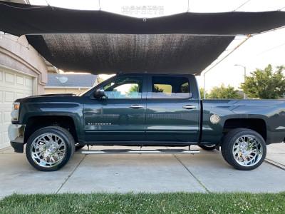 2017 Chevrolet Silverado 1500 - 22x12 -44mm - Tuff T4b - Leveling Kit - 305/40R22