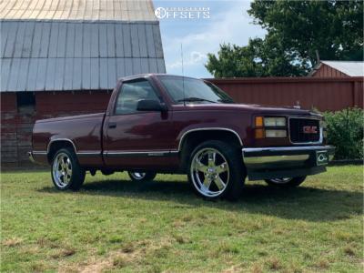 "1995 GMC C1500 - 20x8 1mm - US Mags Hustler - Level 2"" Drop Rear - 235/45R20"