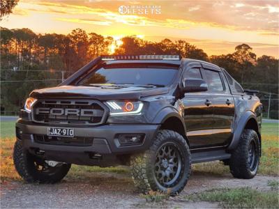 2019 Ford Ranger - 20x9.5 6mm - Black Rhino Sprocket - Leveling Kit - 295/55R20
