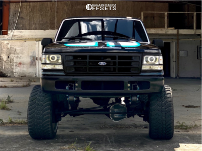 """1993 Ford F-350 - 24x14 0mm - Hostile Forged Punisher - Suspension Lift 6.5"""" - 35"""" x 13.5"""""""