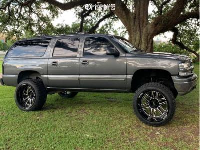 "2000 Chevrolet Suburban 1500 - 24x14 -76mm - Moto Metal Mo992 - Suspension Lift 6"" - 35"" x 13.5"""