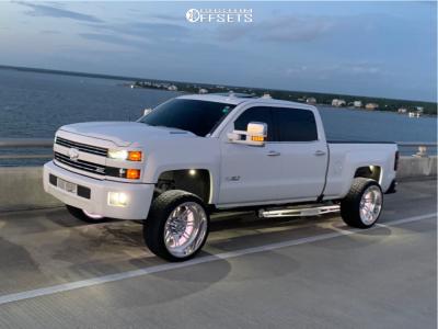 """2016 Chevrolet Silverado 2500 HD - 24x12 -44mm - American Force Knight CC - Level 2"""" Drop Rear - 305/50R24"""