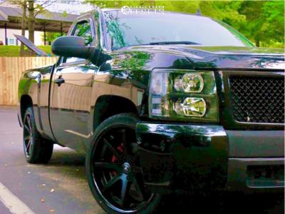"2008 Chevrolet Silverado 1500 - 22x9.5 30mm - Asanti Black Abl-32 - Lowered 2F / 4R - 29"" x 10.5"""