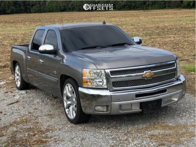 """2013 Chevrolet Silverado 1500 - 22x9.5 0mm - Replica Snowflake Rep - Lowered 5F / 7R - 30"""" x 10.5"""""""