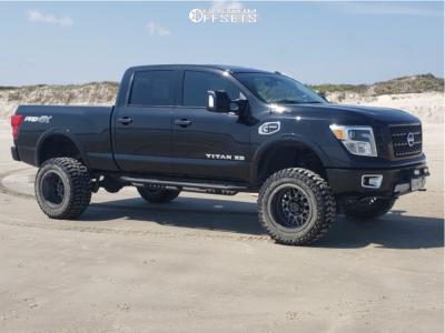 """2018 Nissan Titan XD - 20x12 -44mm - Klutch Offroad Kt02 - Suspension Lift 6"""" - 35"""" x 13.5"""""""