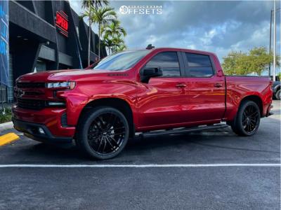 """2019 Chevrolet Silverado 1500 - 24x9.5 30mm - Niche Vosso - Level 2"""" Drop Rear - 305/35R24"""