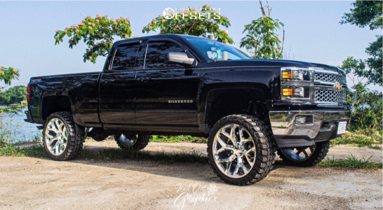 "2015 Chevrolet Silverado 1500 - 24x10 31mm - Strada Replicas Gm Snowflake Replica - Suspension Lift 7.5"" - 35"" x 12.5"""