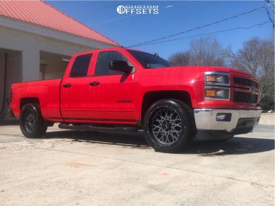 """2015 Chevrolet Silverado 1500 - 22x10 -19mm - Vision Rocker 412 - Level 2"""" Drop Rear - 305/50R22"""