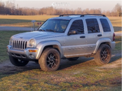 2004 Jeep Liberty - 18x9 -12mm - Vision Prowler 422 - Leveling Kit - 265/65R18