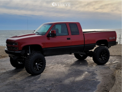 "1998 Chevrolet K1500 - 20x12 -51mm - ARKON OFF-ROAD Roosevelt - Suspension Lift 10"" - 37"" x 13.5"""