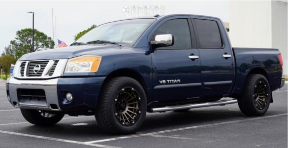 """2014 Nissan Titan - 20x10 -25mm - Vision Creep - Level 2"""" Drop Rear - 305/50R20"""