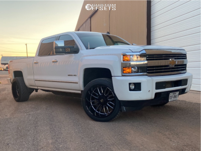 "2015 Chevrolet Silverado 2500 HD - 22x12 -44mm - Axe Offroad Hades - Level 2"" Drop Rear - 40"" x 30"""