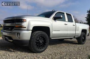 2016 Chevrolet Silverado 1500 - 18x9 0mm - Dropstars 645b - Leveling Kit - 285/65R18