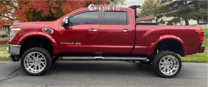"""2017 Nissan Titan XD - 22x12 -51mm - Gear Forged F71p1 - Suspension Lift 6"""" - 33"""" x 12.5"""""""