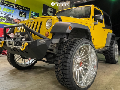 """2008 Jeep Wrangler - 24x12 -44mm - Hartes Metal Offroad Whipsaw - Suspension Lift 2.5"""" - 33"""" x 12.5"""""""