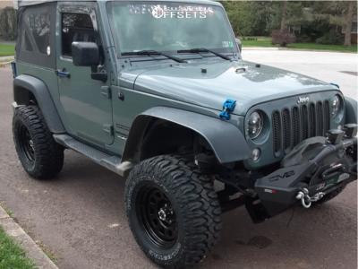 "2015 Jeep Wrangler - 17x9 -12mm - Vision D Window - Leveling Kit & Body Lift - 33"" x 12.5"""