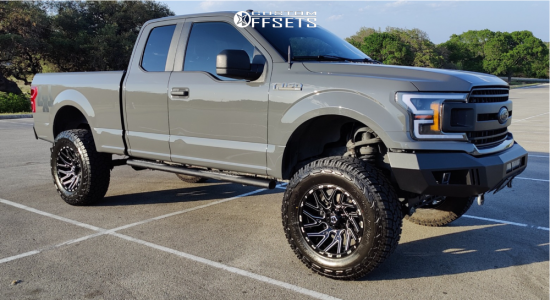 "2018 Ford F-150 - 20x10 -19mm - Tis Forged 554BM - Suspension Lift 8.5"" - 37"" x 12.5"""