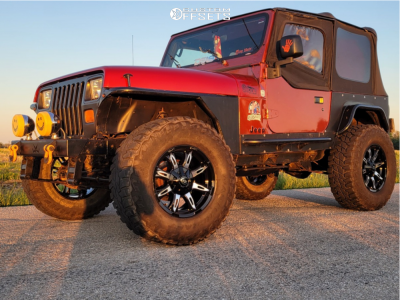 "1995 Jeep Wrangler - 17x9 -12mm - Vision Manic - Suspension Lift 3"" - 35"" x 12.5"""