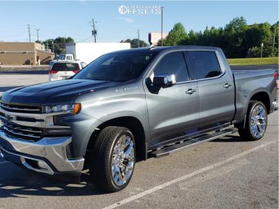 2020 Chevrolet Silverado 1500 - 24x10 31mm - Strada Replicas Gm Snowflake Replica - Stock Suspension - 305/35R24
