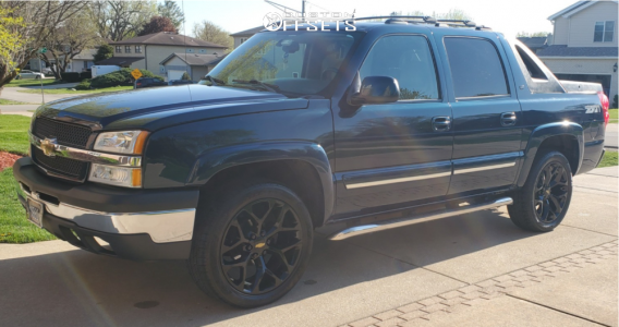 "2005 Chevrolet Avalanche - 22x9 0mm - GM SNOWFLAKE - Leveling Kit - 27"" x 9.5"""