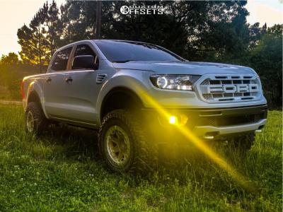 2021 Ford Ranger - 17x8.5 -30mm - Black Rhino Rift Beadlock - Leveling Kit - 285/70R17
