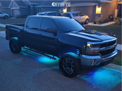 2017 Chevrolet Silverado 1500 - 24x12 -44mm - Axe Offroad Nemesis - Leveling Kit - 285/40R24