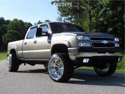 "2007 Chevrolet Silverado 2500 HD Classic - 24x14 -76mm - American Force Octane Ss - Leveling Kit - 33"" x 14.5"""