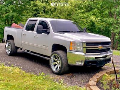 "2010 Chevrolet Silverado 2500 HD - 22x12 -44mm - Hardrock Painkiller Xposed - Level 2"" Drop Rear - 305/40R22"