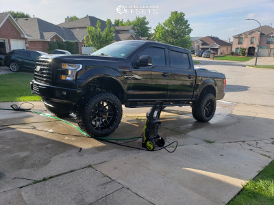 """2017 Ford F-150 - 22x12 -44mm - Wicked Offroad W903 - Suspension Lift 7"""" - 36"""" x 13.5"""""""
