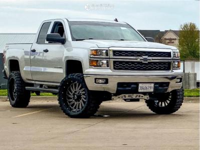 "2014 Chevrolet Silverado 1500 - 22x10 -25mm - Hardrock Overdrive - Suspension Lift 6"" - 35"" x 12.5"""