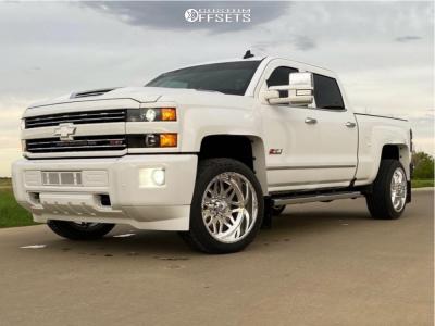 """2018 Chevrolet Silverado 2500 HD - 22x12 -51mm - American Force Trax Ss - Level 2"""" Drop Rear - 305/45R22"""