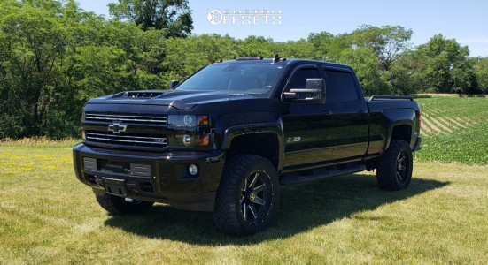 "2017 Chevrolet Silverado 2500 HD - 22x10 -25mm - Hostile Alpha - Leveling Kit - 35"" x 12.5"""