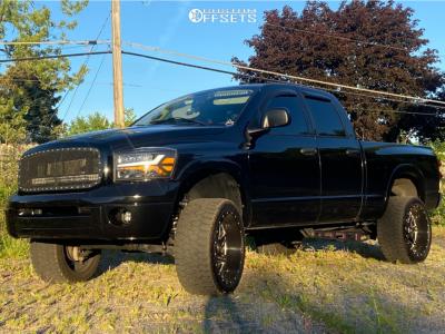 "2008 Dodge Ram 1500 - 22x12 -51mm - Hardrock Bones Xposed - Suspension Lift 3.5"" - 33"" x 12.5"""