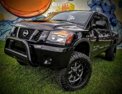 "2015 Nissan Titan - 20x10 -24mm - Moto Metal Mo970 - Suspension Lift 6"" - 35"" x 12.5"""