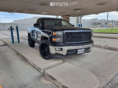 """2014 Chevrolet Silverado 1500 - 20x10 -18mm - Hartes Metal Offroad Savage - Level 2"""" Drop Rear - 285/50R20"""