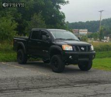 """2010 Nissan Titan - 18x9 -12mm - Black Rhino Rockwell - Suspension Lift 7.5"""" - 35"""" x 12.5"""""""