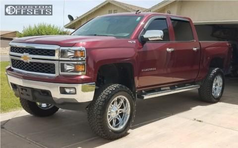 """2014 Chevrolet Silverado 1500 - 20x10 -24mm - Fuel Hostage - Suspension Lift 6"""" - 325/60R20"""