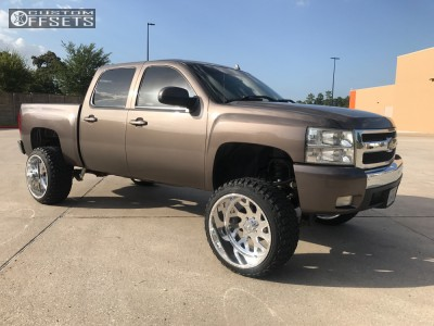 """2008 Chevrolet Silverado 1500 - 24x14 -73mm - American Force Lucky Ss - Suspension Lift 8"""" - 35"""" x 12.5"""""""