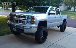 """2014 Chevrolet Silverado 1500 - 20x12 -44mm - TIS 538MB - Suspension Lift 7.5"""" - 35"""" x 12.5"""""""