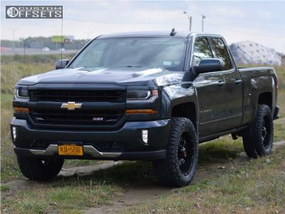 2017 Chevrolet Silverado 1500 - 20x9 -12mm - Havok H109 - Leveling Kit - 295/55R20