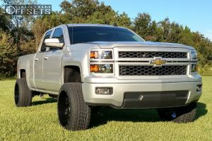 2015 Chevrolet Silverado 1500 - 22x12 -44mm - Hostile Switch Blade - Leveling Kit & Body Lift - 305/45R22