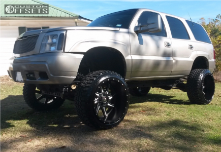 Escalade Cadillac Rough Country Suspension Lift In Body In Truxx Vortex Matte Black on 2002 Cadillac Escalade Lifted