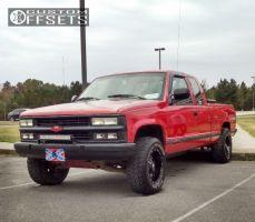 1992 Chevrolet K1500 - 17x9 -12mm - Dropstars 645mb - Leveling Kit - 265/70R17