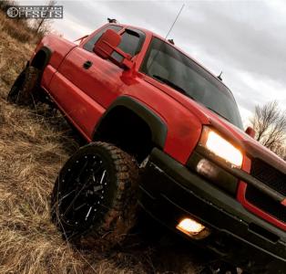 "2003 Chevrolet Silverado 1500 - 20x12 -44mm - Alloy Ion Style 141 - Suspension Lift 6"" - 33"" x 12.5"""