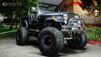 """1984 Jeep CJ7 - 15x14 -77mm - MRW Heavy Duty 20 Bolt Beadlock - Suspension Lift 9"""" - 38"""" x 15.5"""""""